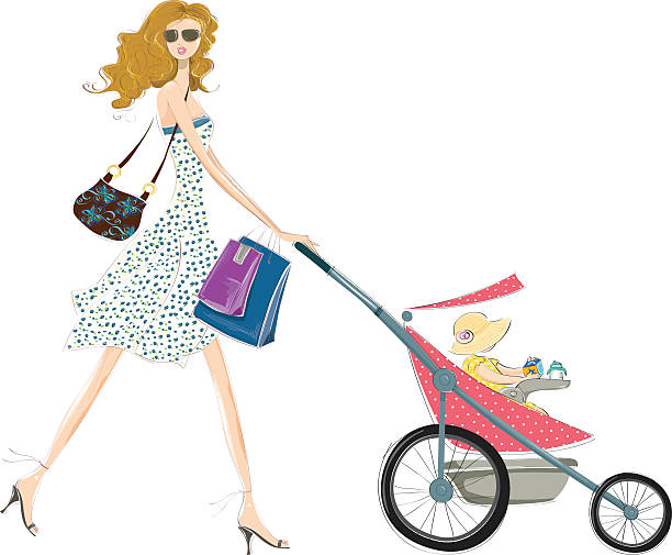 Fashion mommy and baby vector art illustration