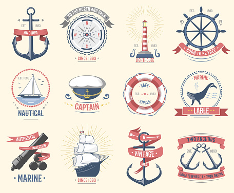 Fashion nautical logo sailing themed label or icon with ship sign anchor rope steering wheel and ribbons travel element graphic badges vector illustration