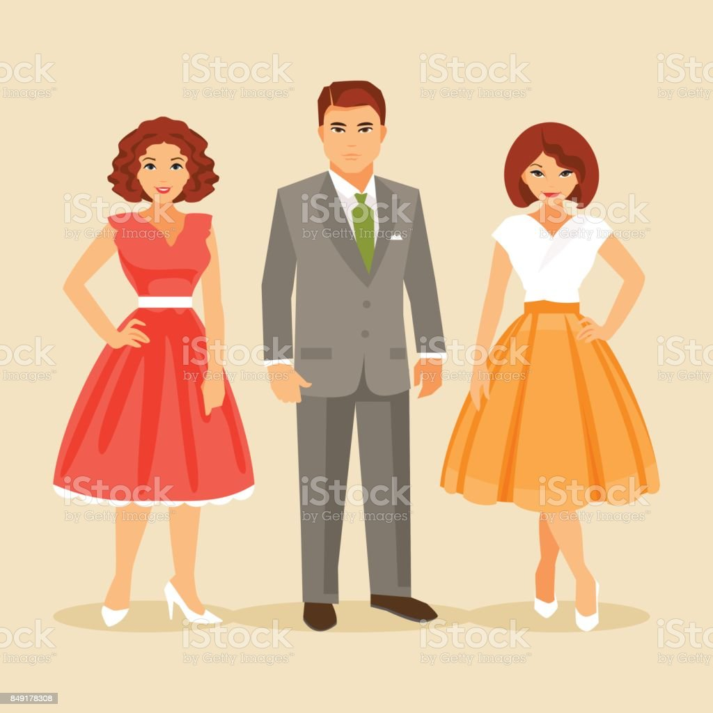 Fashion of the 1950s years vector art illustration