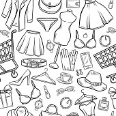 Fashion online shop seamless pattern. Dress, lipstick, perfume and cart. Shoe, clothing, purse, gift, hat, watches and glasses in hand drawn style. Vector Illustration