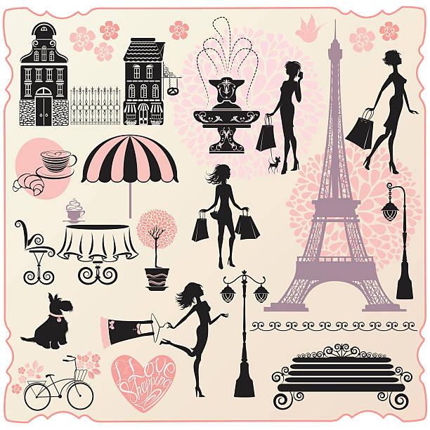 ilustraciones, imágenes clip art, dibujos animados e iconos de stock de moda o tiendas de diseño effel tower, las niñas siluetas - moda parisina