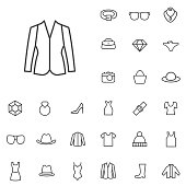 fashion outline, thin, flat, digital icon set