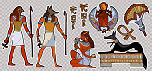 Fashion patch Ancient egypt.  Pharaoh, gods of Egypt, Anubis, Ra. Stickers, patches in cartoon 80s-90s comic style. Egyptian gods and pharaohs patch, ancient civilization, ancient egypt stickers art