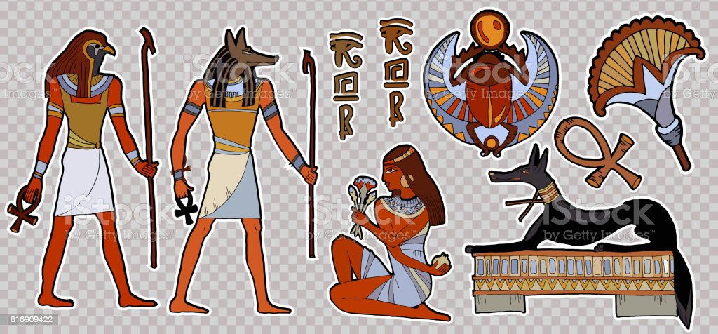 Fashion patch Ancient egypt.  Pharaoh, gods of Egypt, Anubis, Ra. Stickers, patches in cartoon 80s-90s comic style. Egyptian gods and pharaohs patch, ancient civilization, ancient egypt stickers art vector art illustration