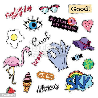 Fashion Patch Badges Big Set Stickers Pins Embroidery Patches And Stock Vector Art U0026 More Images ...