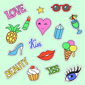 Fashion patch badges. Cartoon Patches collection vector illustration. Stickers, pins with lips, ice cream, kiss.