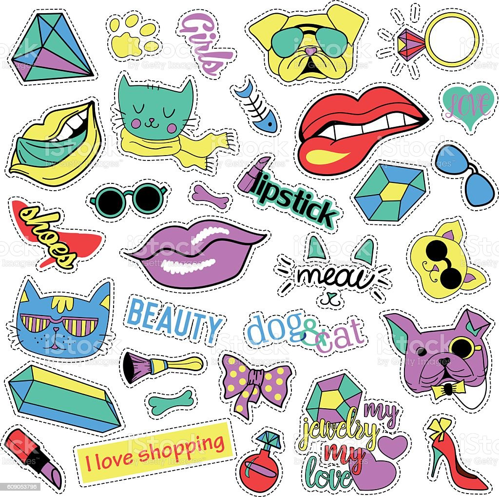 Fashion patch badges. Cats and dogs set. Stickers, pins, patches vector art illustration