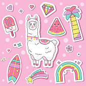 Fashion patch Badges stickers with cute llama, rainbow, diamond, surfboard, palm tree, ice cream, watermelon on a pink background