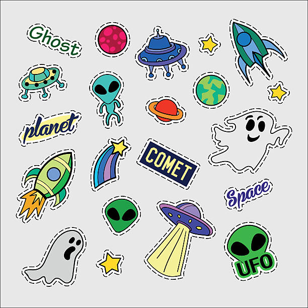 Fashion patch badges. UFO set. Stickers, pins, patches and handwritten vector art illustration