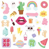 Fashion patch badges with different elements. Set fashion patch badges of stickers, pins and handwritten notes collection in cartoon comic style. Fashion patch badges clip art cartoon fun applique.