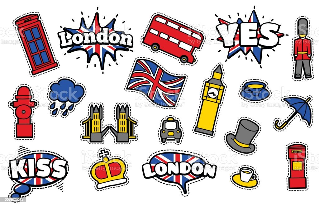 Fashion Patch Badges With Londons Symbols Stock Vector Art More