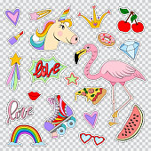Fashion patches and stickers with unicorn, flamingos, rainbow, lip, lipstick, roller skates, star, hearts and etc. Vector cartoon comic icons set isolated on transparent background.
