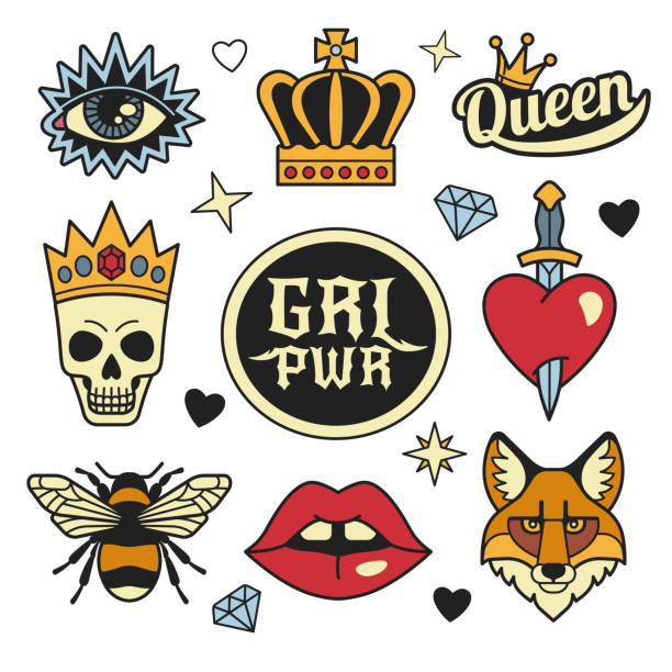 fashion patches collection. - swords tattoos stock illustrations, clip art, cartoons, & icons