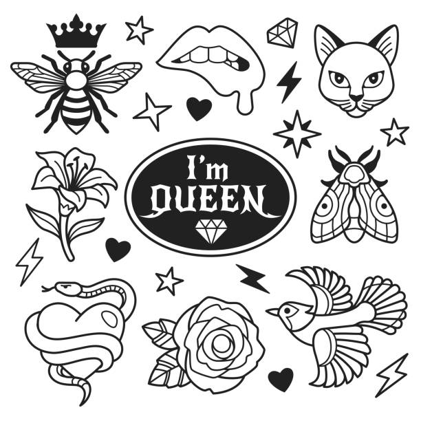 illustrations, cliparts, dessins animés et icônes de collection de mode de patches. - tatouages diamants