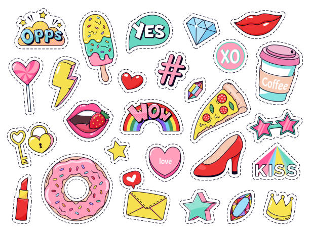 Fashion patches. Comic doodle girl badges, teenage cute cartoon stickers with funny food, pizza and donut, red lips and gems isolated vector illustration set Fashion patches. Comic doodle girl badges, teenage cute cartoon stickers with funny food, pizza and donut, red lips and gems isolated vector illustration set. modern fabric 90s kawaii labels art and craft stock illustrations