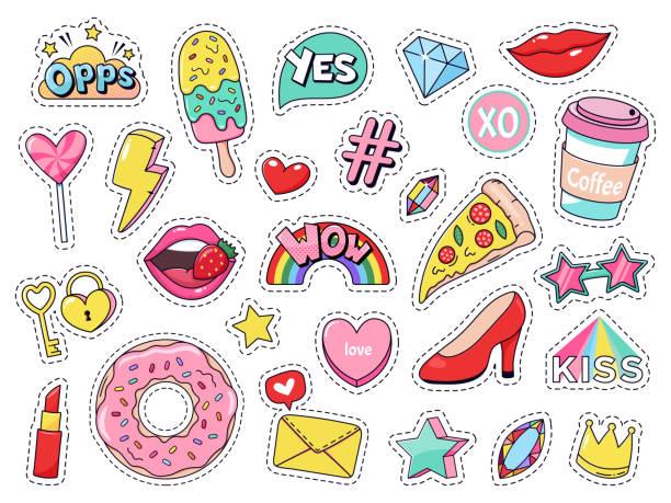 패션 패치. 만화 낙서 소녀 배지, 재미있는 음식, 피자와 도넛, 빨간 입술과 보석 고립 벡터 일러스트 세트와 십대 귀여운 만화 스티커 - 예술 공예품 stock illustrations