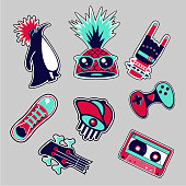 Fashion patches set. Bright bages collection. Youth style.