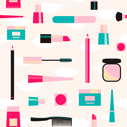 Fashion pattern with color cosmetic objects on light background.