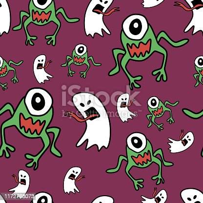 istock Fashion pattern with hand drawn ghost and monster alien for halloween textile print and wrapping. Vector childish drawing for baby and kids. 1172768073