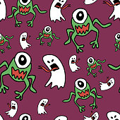 Fashion pattern with hand drawn ghost and monster alien for halloween textile print and wrapping. Vector childish drawing for baby and kids.
