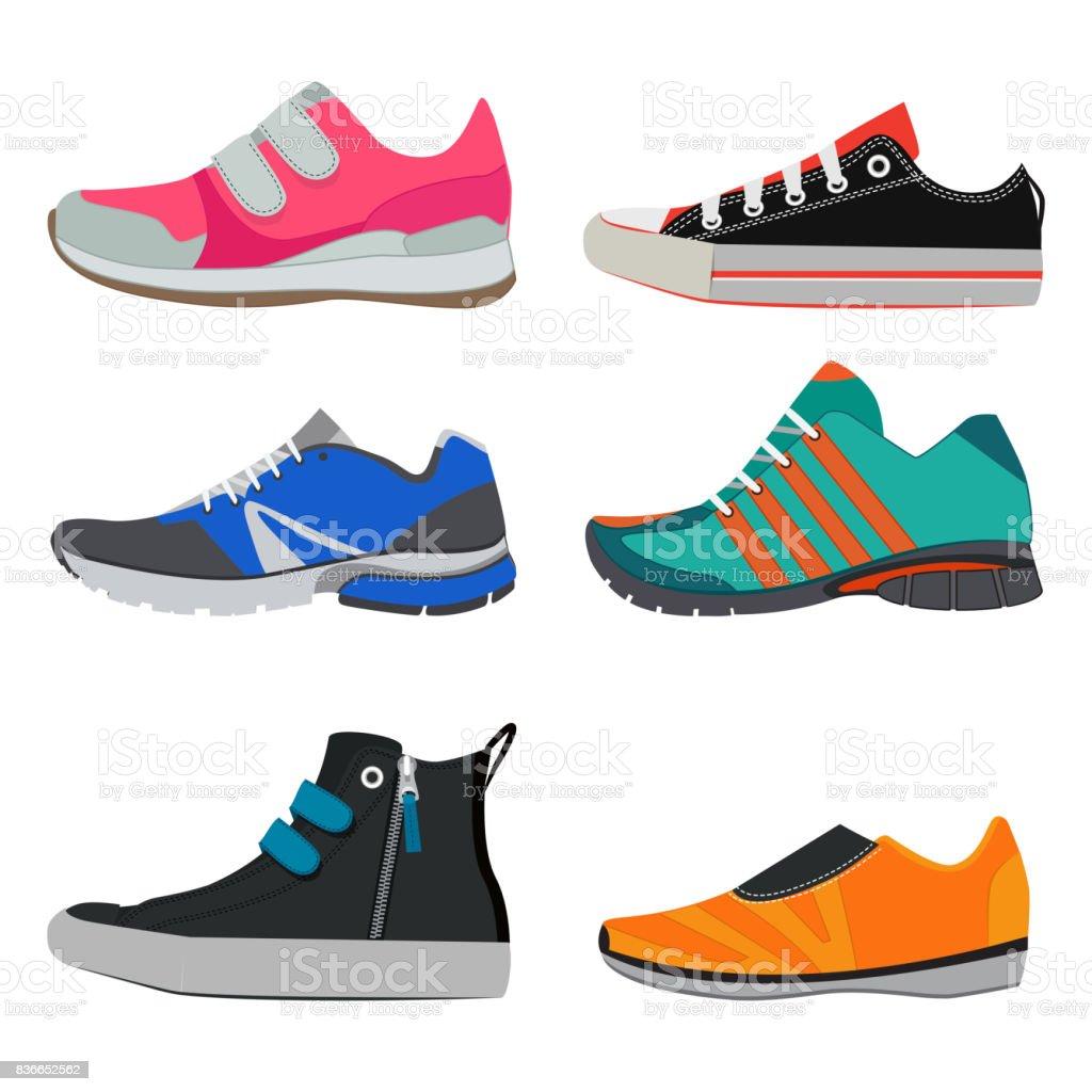 Fotos de moda de tênis esporte diferente. Imagens de vetor de sapatos coloridos - ilustração de arte em vetor