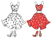 Fashion polka dot dress and shoes. Vector dress sketch and cartoon style
