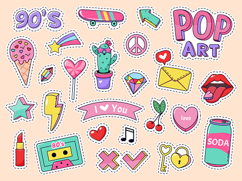 Fashion pop art patch stickers. Girls cartoon cute badges, doodle teenage patches with lipstick, cute food and 90s elements, retro sticker pack vector illustration icon set