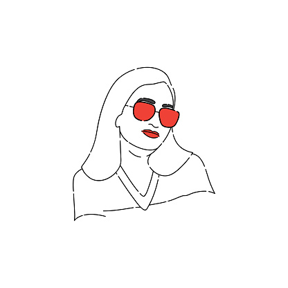 Fashion portrait of an Indian woman in glasses. Line Art Portrait.