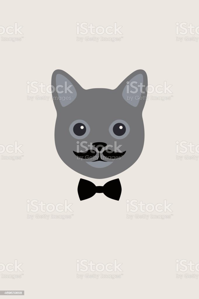 Fashion portrait of cat, gentlemen Cat vector art illustration