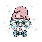 Fashion Portrait of Hipster Cat in Big Glasses and hat,