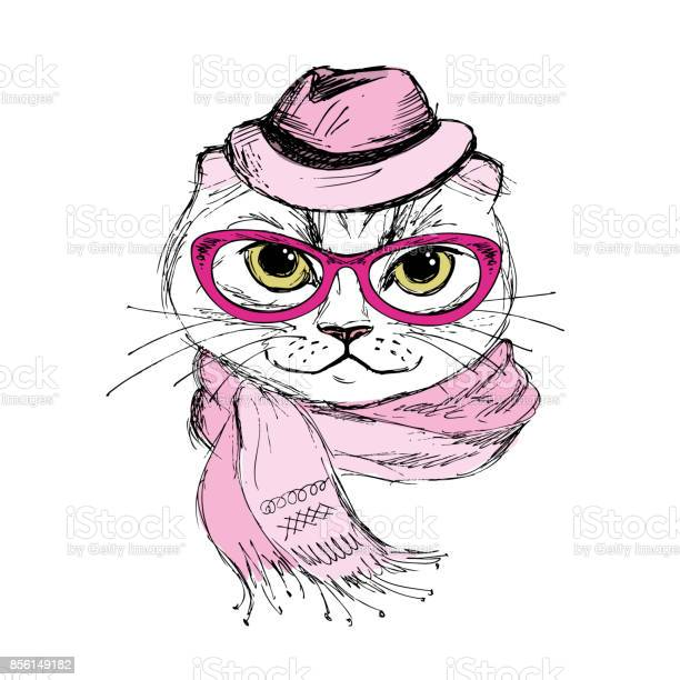 Fashion portrait of hipster cat in big glassesscarf and hathan vector id856149182?b=1&k=6&m=856149182&s=612x612&h=kanlzrllrs68jbl 5dohr4wrnwuuh1edmcccasl 3za=