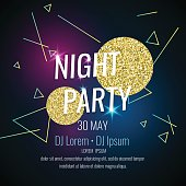 Fashion poster night party abstract style with glitter, rays, triangles and text on a dark background