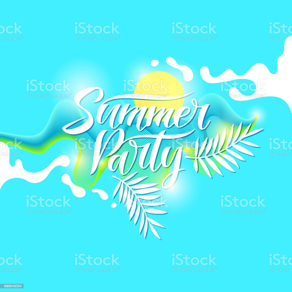 Fashion Poster Summer Party In Abstract Style Vector