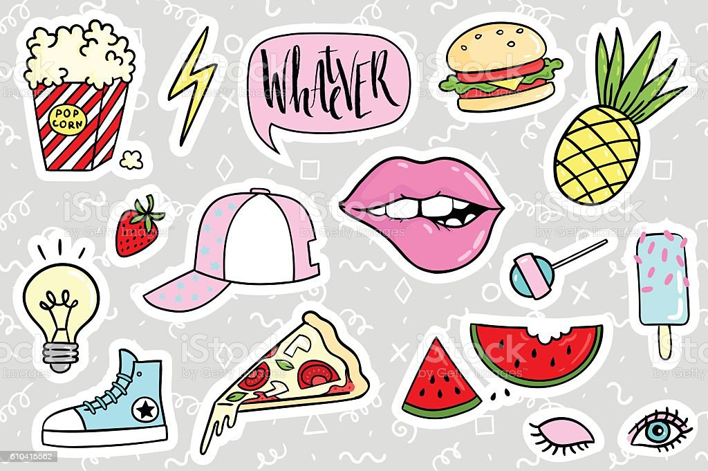 Fashion quirky cartoon doodle patch badges with cute elements vector art illustration