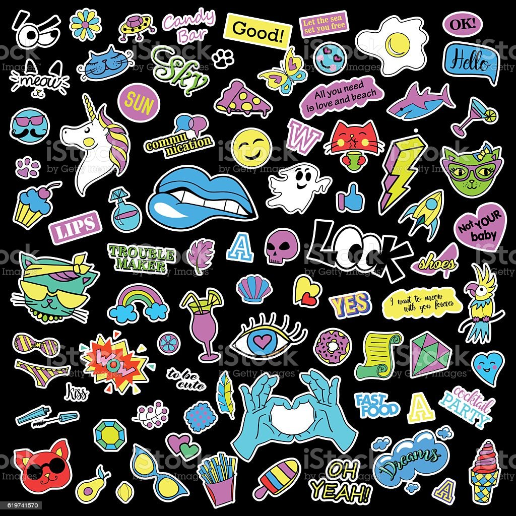 Fashion quirky cartoon doodle patch badges with cute elements. Isolated