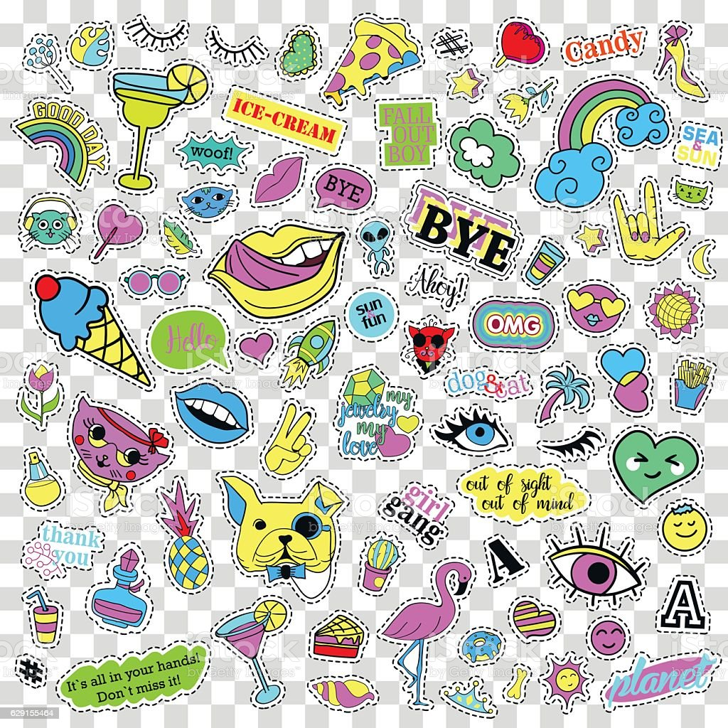 Fashion quirky cartoon doodle patch badges with cute elements. Isolated vector art illustration