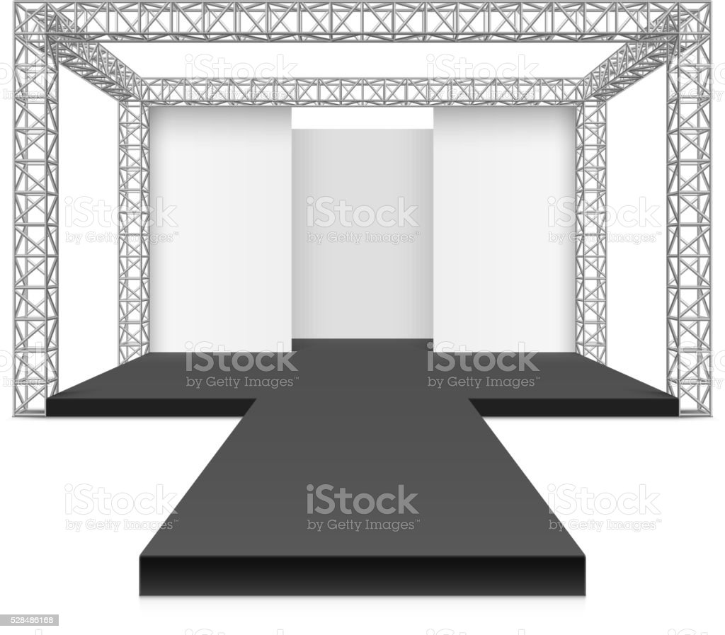 Fashion runway podium stage vector art illustration