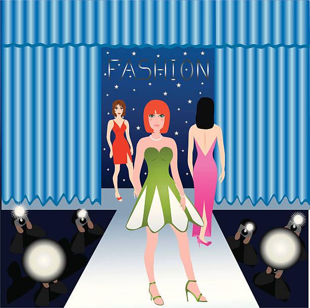 fashion runway - prom fashion stock illustrations, clip art, cartoons, & icons