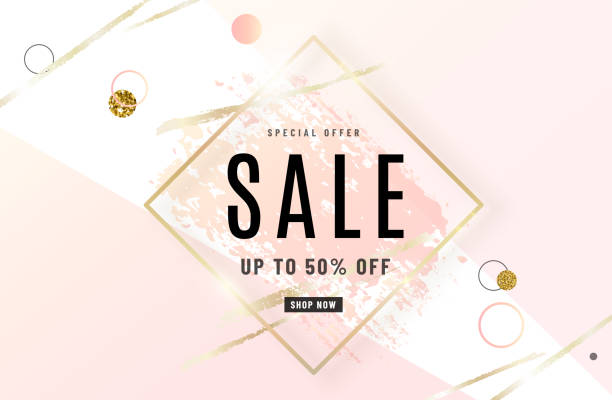 Fashion sale banner design background with gold frame, watercolor rose pink brush, special offer text, geometric elements. Up to 50 percent OFF. Vector illustration vector art illustration