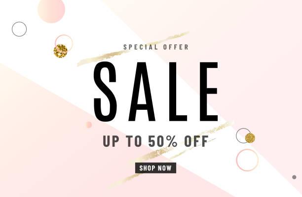 時裝銷售橫幅設計背景與黃金特別促銷提供文字, 幾何點元素, 金色畫筆。高達50% 的折扣。向量例證 - 淺粉色 幅插畫檔、美工圖案、卡通及圖標