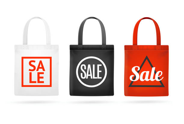 fashion sale fabric cloth bag tote set. vector - stoffmarkt stock-grafiken, -clipart, -cartoons und -symbole