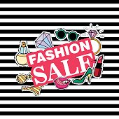 Fashion SALE. Poster, banner with Patch Badges. Vector illustration. design