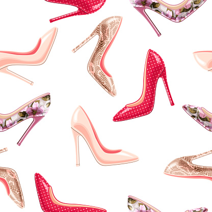 Fashion seamless pattern with colorful stylish glamour heel shoes