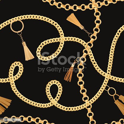 Fashion Seamless Pattern with Golden Chains. Fabric Design Background with Chain, Metallic accessories and Jewelry for Wallpapers, Prints. Vector illustration