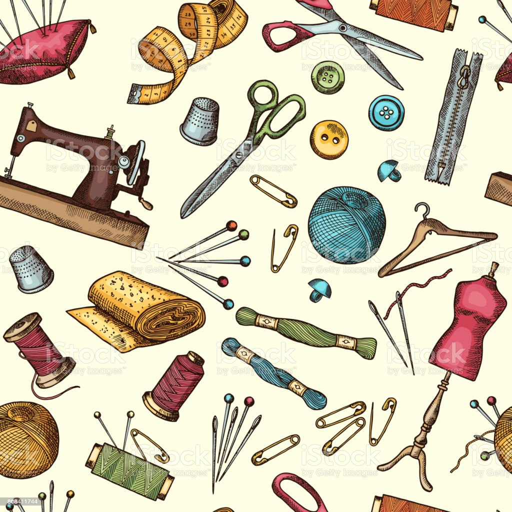 Fashion Seamless Pattern With Pictures Of Industrial Tools ...