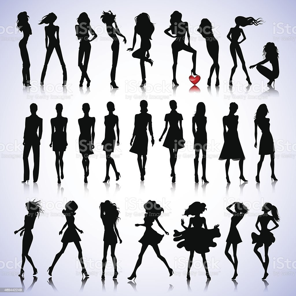 Fashion set of woman silhouettes vector art illustration