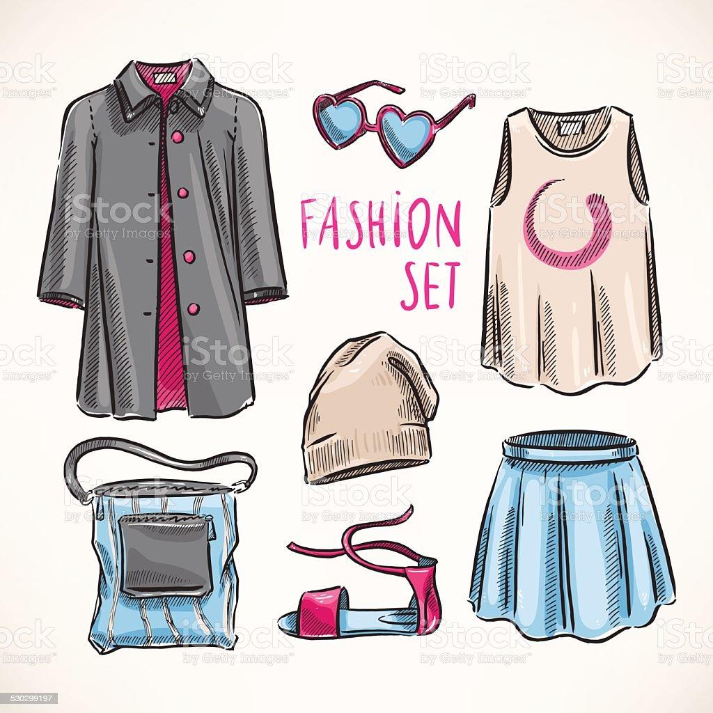 f032598e90b Набор моды с женской одежды набор моды с женской одежды — стоковая  векторная графика и другие