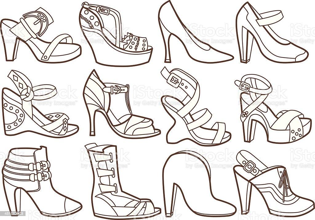Ilustración de Colección De Zapatos De Moda Libro Para Colorear y ...