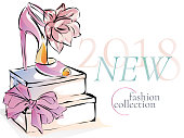 Fashion shoes new collection advertising promo banner, online shopping social media ads web template with beautiful heels. Vector illustration clipart art