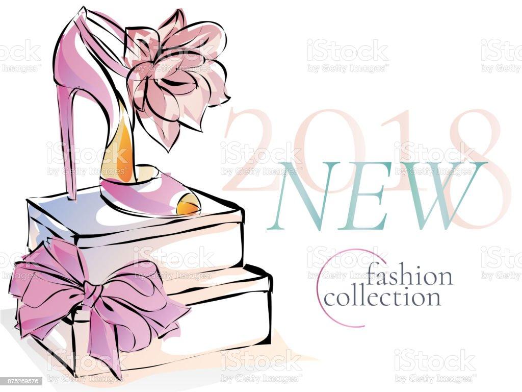 Mode Schuhe neue Kollektion Promo Banner Werbung, Online-shopping social-Media-anzeigen-Web-Vorlage mit schönen Heels. Vektor-Illustration-clipart – Vektorgrafik
